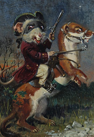 bold bad dick fondente on his faithful chestnut stoat bresse bleu by terence cuneo