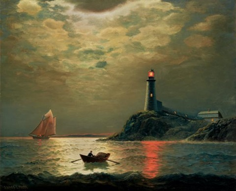 Sailboat with Lighthouse at Night by James Gale Tyler on artnet