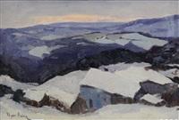 paysage vallonné et ferme enneigée by elysée fabry