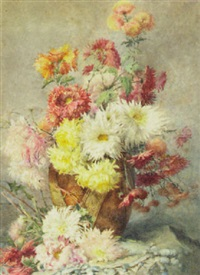 chrysanthamums in a vase by theresa maria hegg
