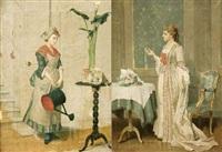 la femme à l'arrosoir (+ jeune femme regardant un médaillon; pair) by auguste serrure