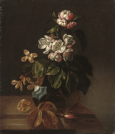 blossom, convolvulus and other flowers in a glass vase on a wooden ledge by simon pietersz verelst