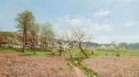 promenade under the apple blossoms by paulin andre bertrand