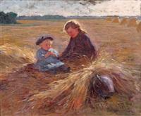 le fenaison, mère et enfant dans un champ by albert auguste fourié