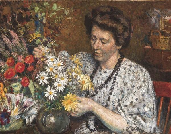 femme aux fleurs la fleuriste by georges lemmen