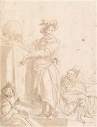 soldaten mit einem magier, auf einen totenkopf verweisend by giustino menescardi