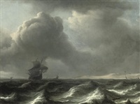 a wijdschip in choppy waters, other vessels beyond by aernout (johann arnold) smit