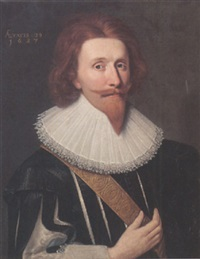 portrait of a gentleman, wearing a black tunic and white ruff by adam de colone