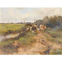 herding cows along a water channel by willem george frederik jansen
