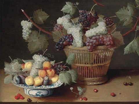 grapes peaches and plums on a delft platter and grapes in a woven basket with strawberries cherries and a fly on a stone ledge by isaac soreau