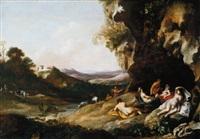schlafende nymphen vor einer grotte by jan (hermafrodito) linsen