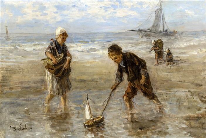 enfants jouant sur la plage by jozef israëls