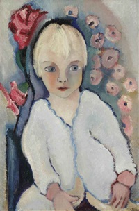 portrait of a child in white by charley toorop