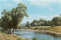fishing on the river usk, near abergavenny by arthur weaver