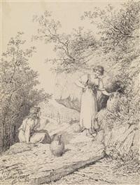 zwei mädchen holen wasser von einer bergquelle (+ 2 others; 3 works) by josé serra y porson