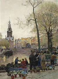 flowermarket in amsterdam, the munt beyond by hans herrmann