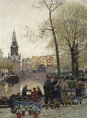 flowermarket in amsterdam, the munt beyond by hans herrmann