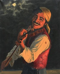 smiling gypsy fiddle player by fritz müller