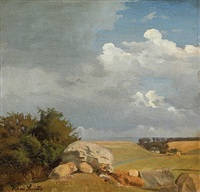 view from mols bjerge with a dolmen, denmark by hans ludvig smidth