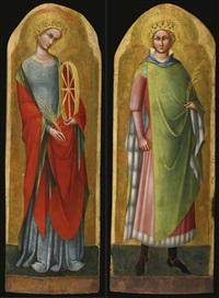 saint catherine of alexandria and saint sigismund of burgundy (pair) by lorenzo veneziano