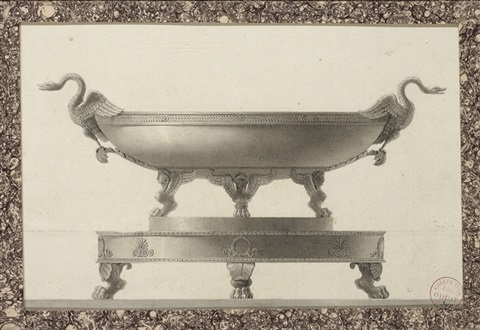 design for a tazza with swan handles on a platter with lions paw feet by jean guillaume moitte