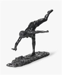arabesque sur la jambe droite, la main droite près de terre, le bras gauche en dehors by edgar degas