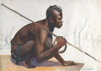 pêcheur africain au harpon by j. le gall