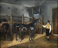 lad présentant un cheval dans une écurie by pierre-francois lehoux