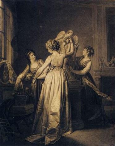 trois jeunes filles dans un intérieur décorant de fleurs une statue de lamour by jean simon fournier