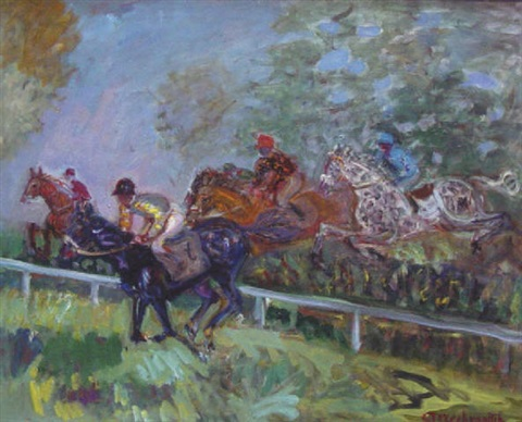Les courses le saut dobstacle by constantin terechkovitch on artnet - Frison saut d obstacle ...