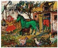 farm scene by david davidovich burliuk