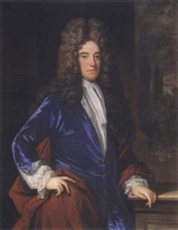 portrait of a gentleman standing, wearing a blue coat and a red cloak, with a white jabot by charles d' agar