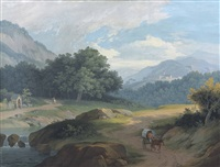 a man in a wagon by a river, a church with a monastery in the distance by jean-antoine linck