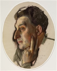 portrait of m.g. lukianov in profile by konstantin andreevich somov