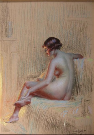 study of a nude woman by firelight by delphin enjolras