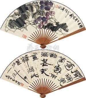 葡萄图 隶书五言诗 (flower, calligraphy) (recto-verso) by qian juntao