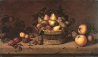 a still life of grapes, plums, cob nuts, walnuts and a   basket of pears and apples on a stone ledge by johannes bouman