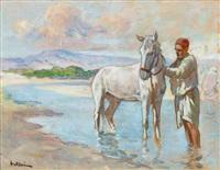 cavalier à l'oued by louis-ferdinand antoni