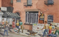 jumble shop tap room; the news vendor (pair) by harry t. fisk