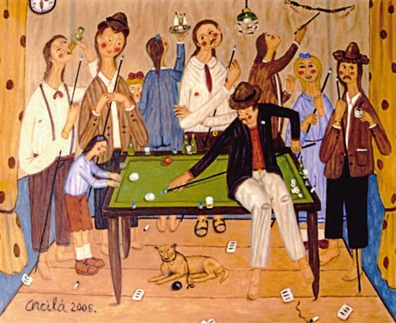 joueurs de billard avec un chien by oscar arcila
