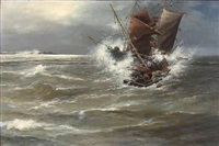 collision between two sailing ships in rough sea by alexander reich-staffelstein