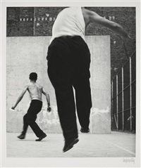 handball players, houston street, new york by leon levinstein