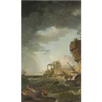 a shipwreck off a rocky coast by jean henry d' arles