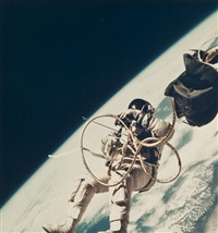 ed white walking in space, gemini 4 (2 works) by james mcdivitt