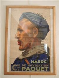 affiche pour la compagnie de navigation paquet: maroc by viano