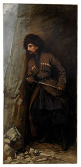 cossack withdrawing his shashka by stanislav porazh fabiansky