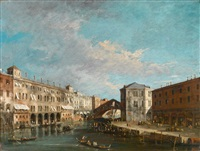 die rialtobrücke in venedig by francesco guardi