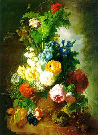 Still Life Of Flowers In A Terracotta Vase And A Birds Nest On A