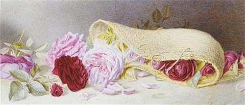 roses spilling from a wicker basket by mary elizabeth duffield