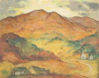 mountain landscape with farm and small church in fiery orange, yellows and greens by marie atkinson hull